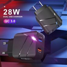 Quick Charge 3.0 LED Display 2Ports USB Phone Charger Fast Charging For iPhone 12 Pro Samsung S20 Charger EU Wall Adapter