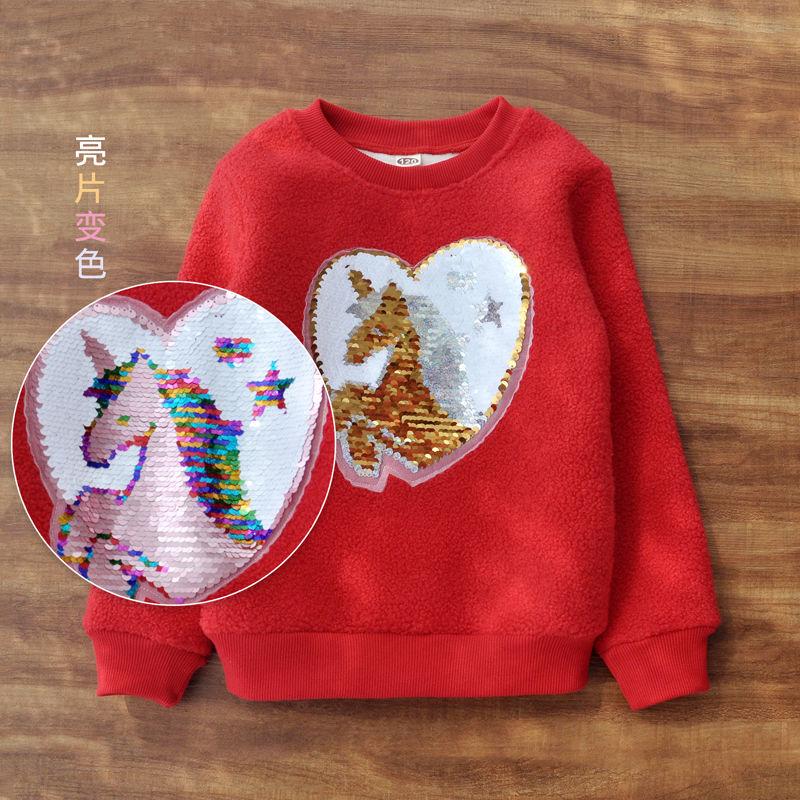 Vidmid Long Sleeve Girl T-shirt Cartoon Unicorn Girl Shirts Sequined Kids Top Fashion Girls color changing Sequin Clothing p331 3