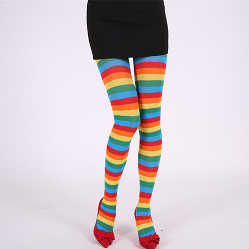 Stripy Elf Tights in Red /& Green Christmas Fancy Dress Ladies Costume Accessory