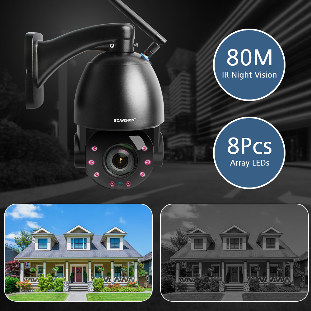 Image 4 - 1080P Wireless PTZ Dome IP Camera WIFI Outdoor 20X Optical Zoom CCTV Security Video Camera Audio Speaker 80m IR IP PTZ Cam CamHi-in Surveillance Cameras from Security & Protection