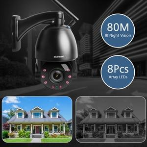 Image 4 - 1080P bezprzewodowy PTZ kamera IP kopułkowa zewnętrzna WIFI 20X zoom optyczny bezpieczeństwa CCTV kamera wideo głośnik audio 80m IR IP PTZ kamery CamHi
