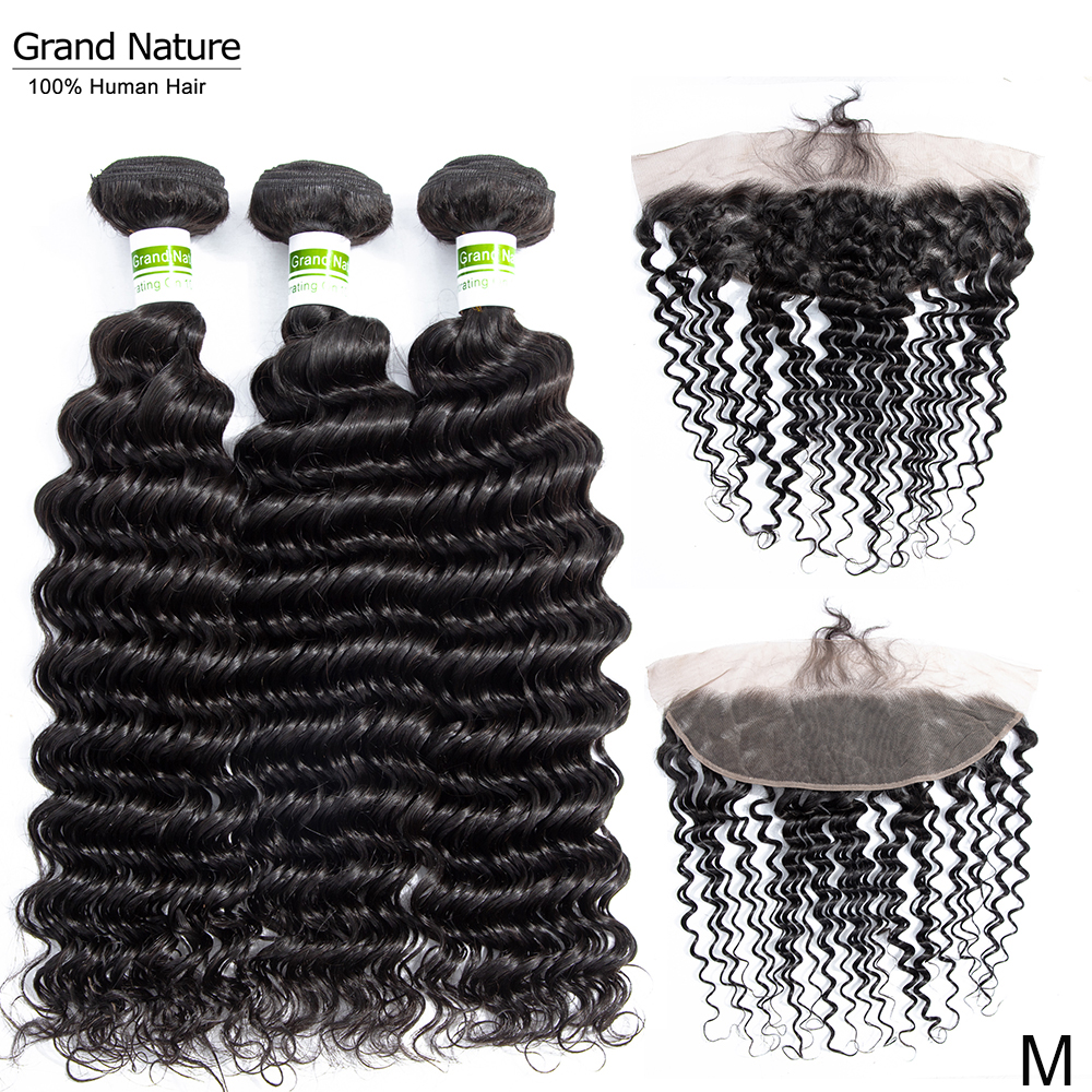 Vietnamese Hair Weave Bundles With Frontal Closure Deep Wave 13x4inch Swiss Lace With Hairline Remy Human Hair Extensions 4pcs