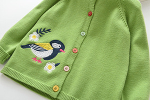 Image 4 - LOVE DD&MM Girls Coat 2020 New Childrens Clothing Girls Cute Bird Soft Long Sleeved Casual Button Knit Cardigan Coat