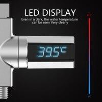 Casa display led chuveiro de água termômetro display led casa chuveiro termômetro fluxo temperatura água monitor Medidores de temperatura     -