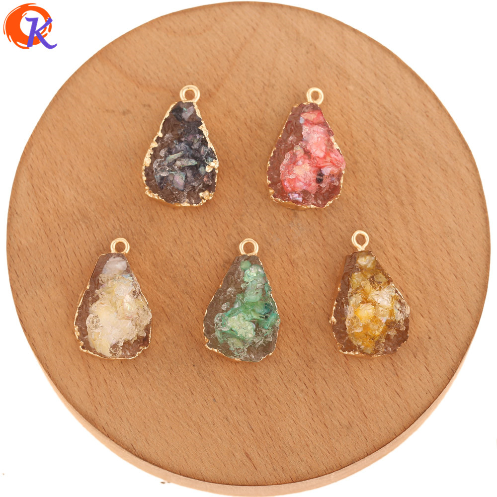 Cordial Design 50Pcs 15*25MM Jewelry Accessories/Resin Charms/Drop Shape/Shell Effect/DIY Making/Hand Made/Earring Findings