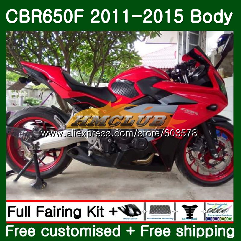 CBR-650F Pour HONDA CBR 650F 650 F 2011 2012 2013 2014 2015 130CL. 17 Brillant Rouge CBR650 F CBR-650 CBR650F 11 12 13 14 15 Carénage