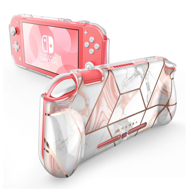 Mumba Case For Nintendo Switch Lite (2019 Release), [Thunderbolt Series] Protective Clear Marble Cover Case with TPU Grip