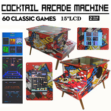 Arcade Cocktail Table Game Machine Cabinet kit Jamma 60 in 1 Classical Games 2 Sides to Players (15 Inch LCD Monitor)