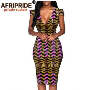 Image 3 - African summer dress for women AFRIPRIDE tailor made short sleeve knee length casual women pencil dress 100% cotton A1825074