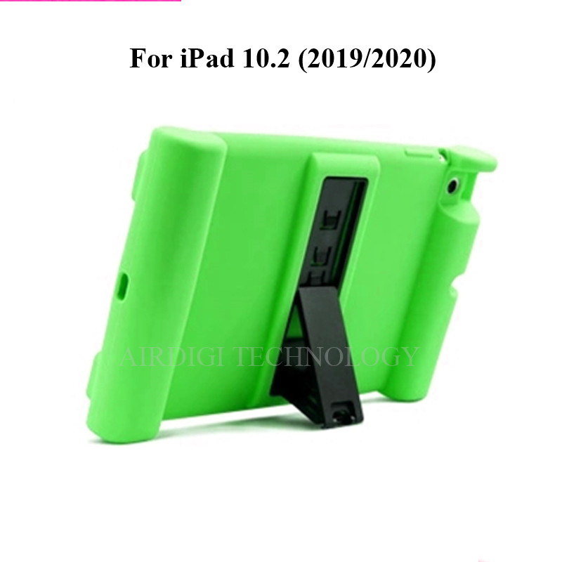 green Green Soft Shockproof Silicone Cover Kickstand Case for iPad 10 2 A2198 A2200 A2197 A2270 A2428 A2429
