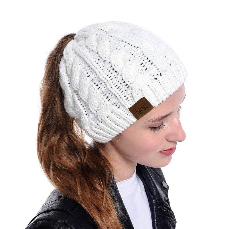 Winter 2019 Women Ponytail Messy Bun Beanie Hat Soft Knitted Warm Autumn Outdoor Sport Casual Beanie Skullies Woolen Crochet Hat