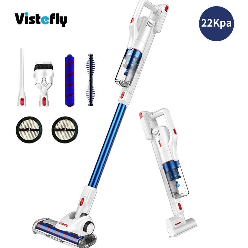 Vistefly V10 Pro беспроводной пылесос 22 кПа Мощное всасывание, 5 в 1, палка ручной для домашних животных ковер для волос автомобиля твердый пол синий