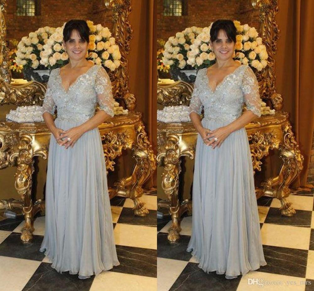 Silver Gray Mother Of The Bride Dresses Long 2019 Vestido De Madrinha Beads Appliques Chiffon Evening Gown Party Custom Weddings