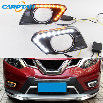 LED Daytime Running Light For Nissan X-Trail T32 2014 2015 2016 Waterproof Yellow Turn Signal Indicator Light Bumper LED DRL