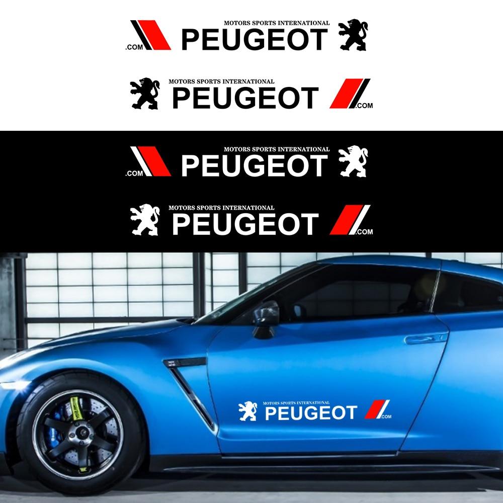 2 шт. автомобильный боковой двери наклейка для боди-арта наклейки автомобильные брелки с логотипом наклейка для укладки волос для Peugeot 206 308 ...