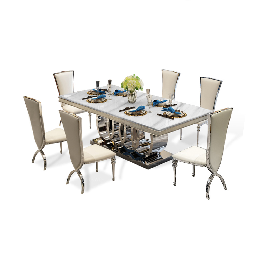 Designer Unique New Stainless Steel Golden Dining Room Set With Marble Table And 6 Leather Chairs Mesa De Jantar Muebles Comedor Dining Room Sets Aliexpress