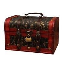 Chic Wooden Pirate Jewellery Storage Box Case Holder Vintage Treasure Chest for Wooden Organizer