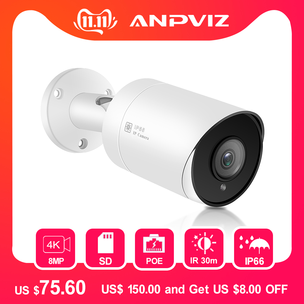 Hikvision compatível poe câmera ip 8mp h.265 câmeras de vigilância de vídeo ao ar livre 3.6mm apoio acesso remoto onvif nas