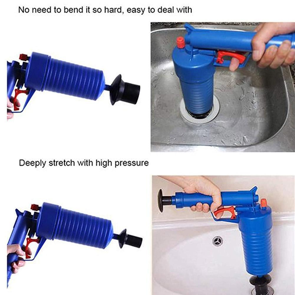 High Pressure Strong Water Impact Pressure Pump Cleaner Sewer Plunger Unclogs Toilet Powered Pipe Dredger Hand Set U1Z4
