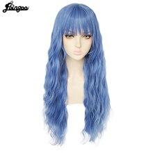 Ebingoo longa onda profunda loira rosa azul preto branco peruca sintética com puro franja para mulheres fibra de alta temperatura