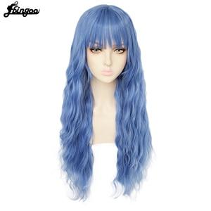 Image 1 - Ebingooロングブロンドピンクブルーブラックホワイト合成女性のためのきちんとした前髪高温繊維