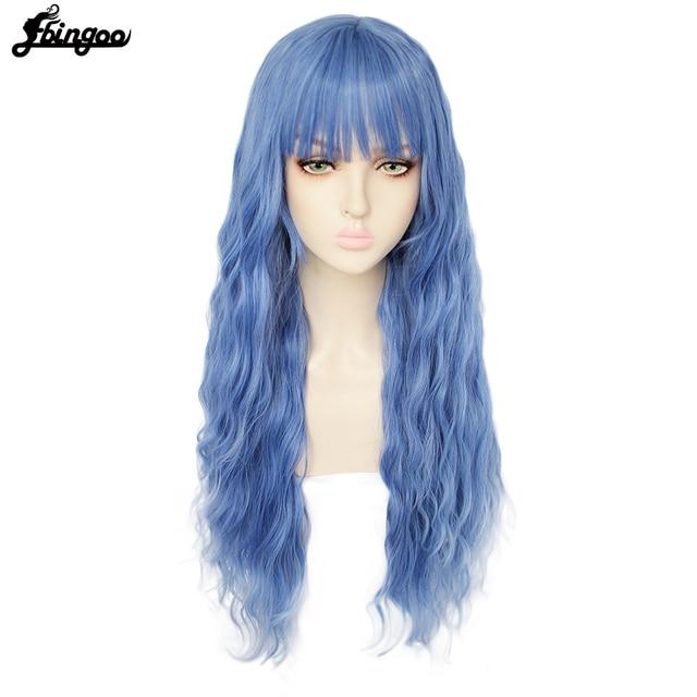 Ebingooロングブロンドピンクブルーブラックホワイト合成女性のためのきちんとした前髪高温繊維