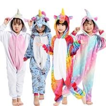 Kigurumi Pajamas Unicorn Kids Animal Children Pajamas for Boys Girls Costume Baby Pyjamas Kids Licorne Onesies Winter Sleepwear все цены