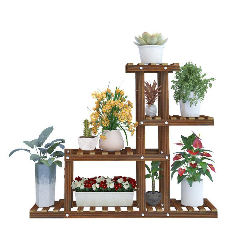 Ladder Plantenrekken Indoor Balkon Wood Estanteria Para Plantas Dekoration Balcony Shelf Plant Rack Flower Stand