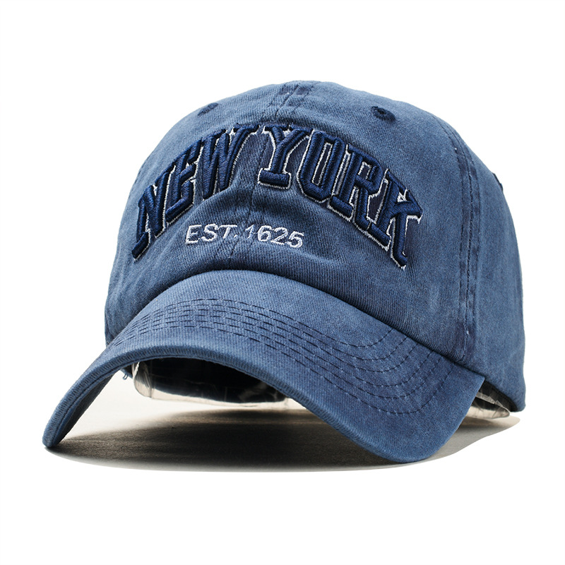 Sand Washed 100% Cotton Baseball Cap Hat For Women Men Vintage Dad Hat NEW YORK Embroidery Letter Outdoor Sports Caps