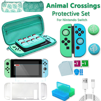 Animal Crossing Game Accessory Set For Nintendo Switch Travel Carrying Bag Protector Case Thumb Stick Grip Caps Charging Cable 1