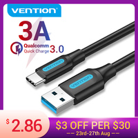 Vention USB Cable de tipo C 3A USB 3,0 de carga rápida Cable para Samsung Galaxy S10 S9 Huawei P20 10 Pro tipo-C Cable de carga de datos