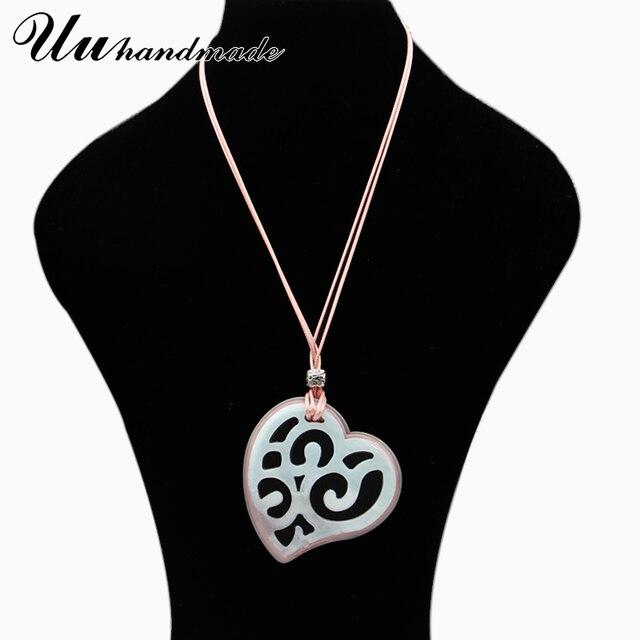 Купить готическое акриловое сердце кожаная цепочка ожерелье кулон богемные картинки