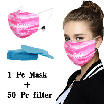 Print Mouth Mask Washable Cotton PM2.5 50pcsFilter Mask Anti Dust Face Mask Reusable Mouth-muffle Bacteria Proof Flu Adult Mask