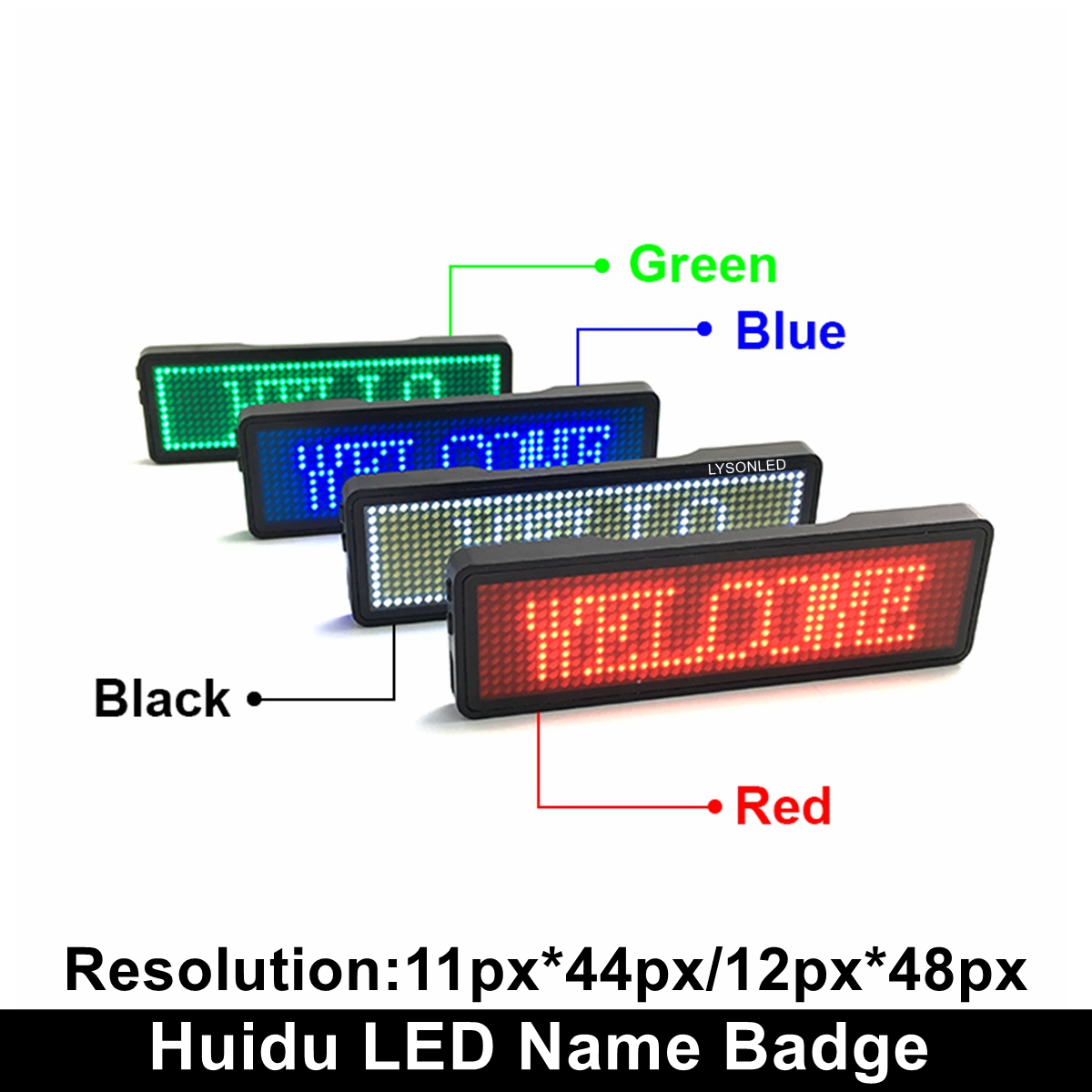 LYSONLED Red Blue Green White Rechargeable Led Name Badge 44x11 48x12 Dots Single Color Scrolling Message Tag For Event