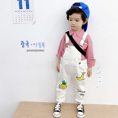 Korean Children's Overalls Pants Baby Boys Cotton Overalls Kids Graffit Jumpsuits 2021 Summer New Boys and Girls Casual Overalls