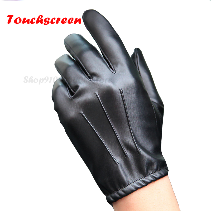 2021 Fashion Black PU Leather Gloves Male Thin Style Driving Leather Men Gloves Non-Slip Full Fingers Palm Touchscreen