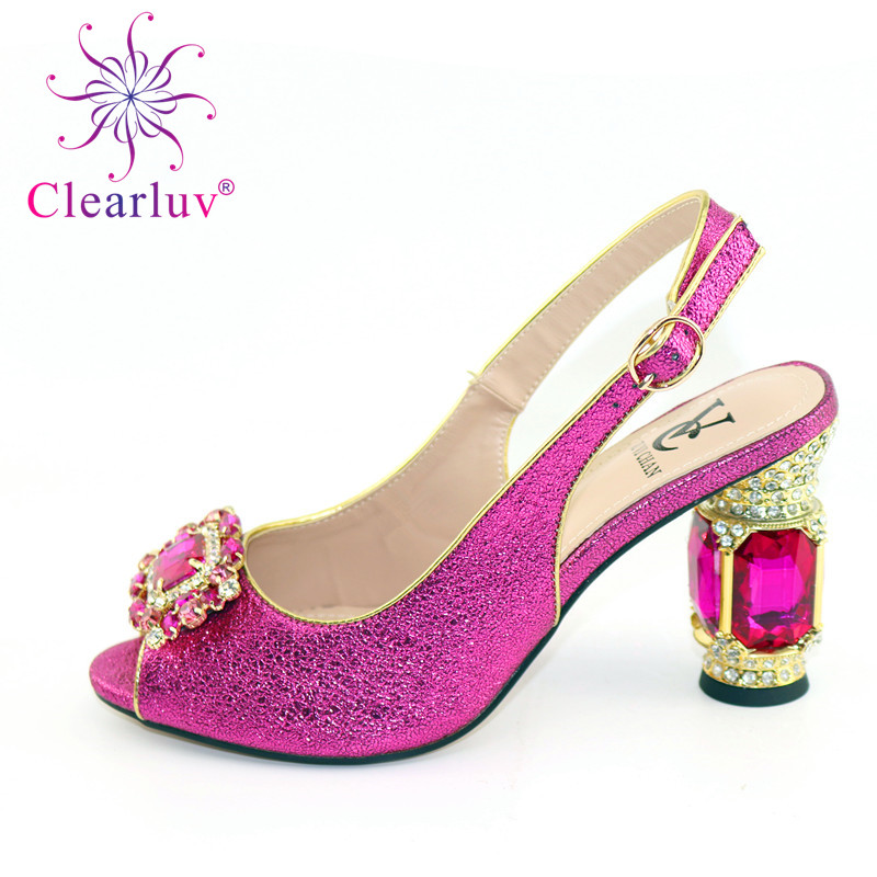 Summer Women Elegant Pumps Ladies Wedding Shoes Decorated With Rhinestone Italian Ladies Shoes For Parties Nigerian Women Shoes