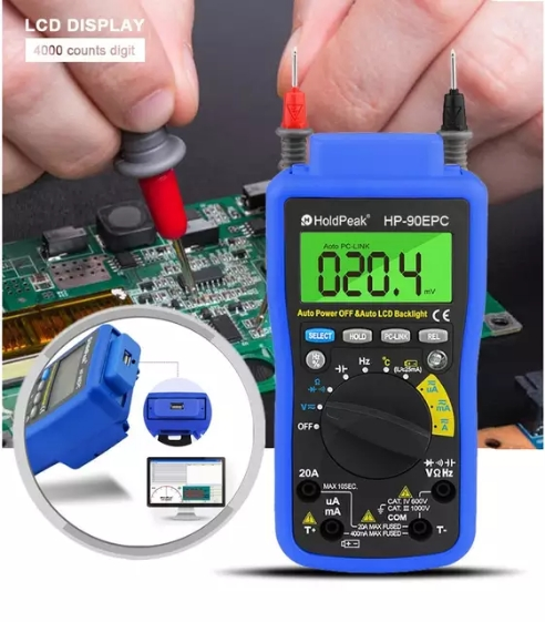 HoldPeak  HP-90EPC Multimetro Auto Range Digital Multimeter Meter with USB Cable to connect PC and Output  amp  Record Data