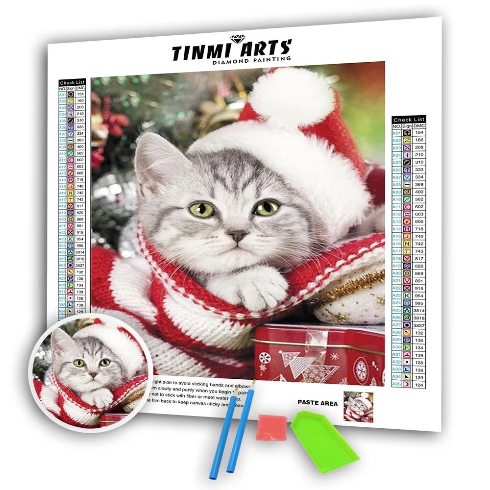 5d Diamond Painting Canvas Cute Christmas Cat Full Round Drill Diy Mosaic Cross Stitch Pattern Handmade Embroidery Decor Aliexpress