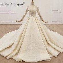 Vestidos de novia de manga larga para mujeres Arabia Saudita elegantes flores 3D encaje vestidos de princesa para novias 2020