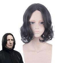 Film Severus Snape siyah peruk Cosplay profesör Snape kıvırcık peruk cadılar bayramı rol oynamak kostümleri peruk + peruk kap