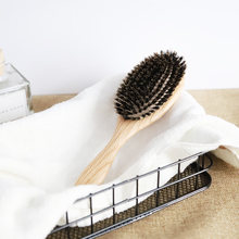 Manufacturer wholesale detangling massage brush oak wood paddle100% boar bristle hair brushes custom logo for wet and dry hair(China)