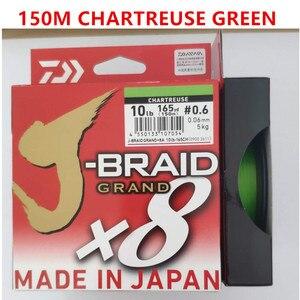 Image 2 - 2018 جديد دايوا J BRAID جراند X8 مضفر خيط صنارة الصيد PE الأخضر الداكن CHARTREUSE الأخضر متعدد الألوان المحرز في اليابان