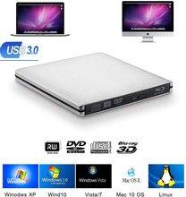 Externa Blu-ray quemador unidad USB3.0 DVD 3D Slim Unidad óptica grabador Blu-Ray lector de CD/DVD quemador para Windows/IOS