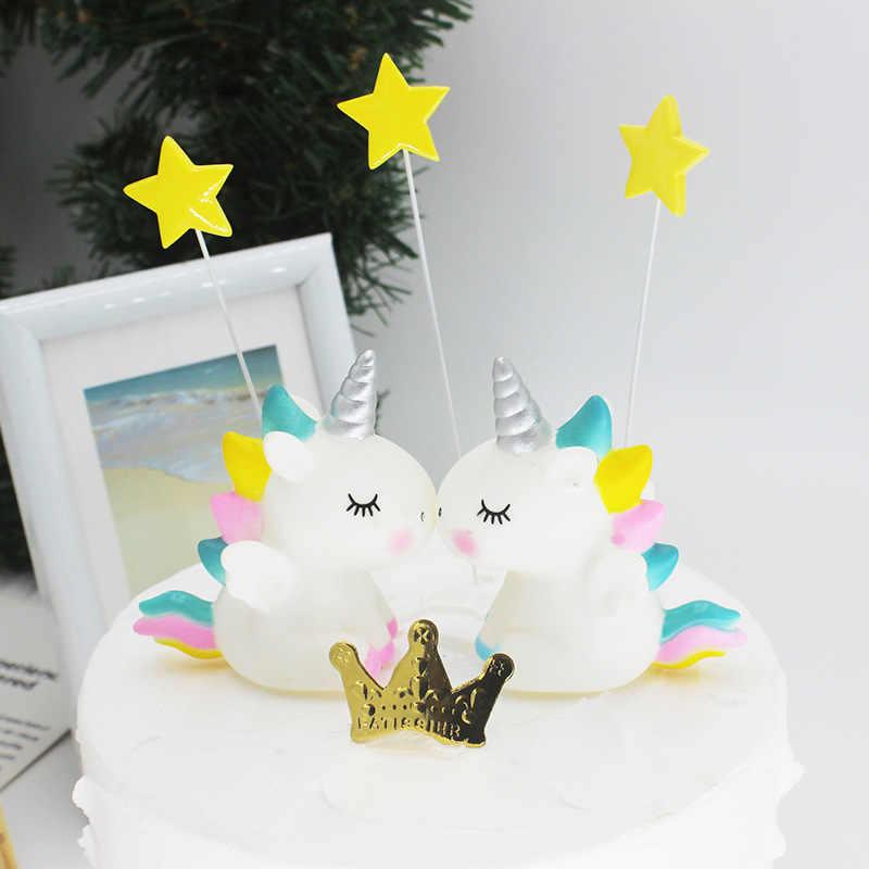 NewRainbow ユニコーンケーキトッパーの誕生日ウェディングケーキフラグクラウド熱気球ケーキ誕生日パーティーベーキング装飾用品
