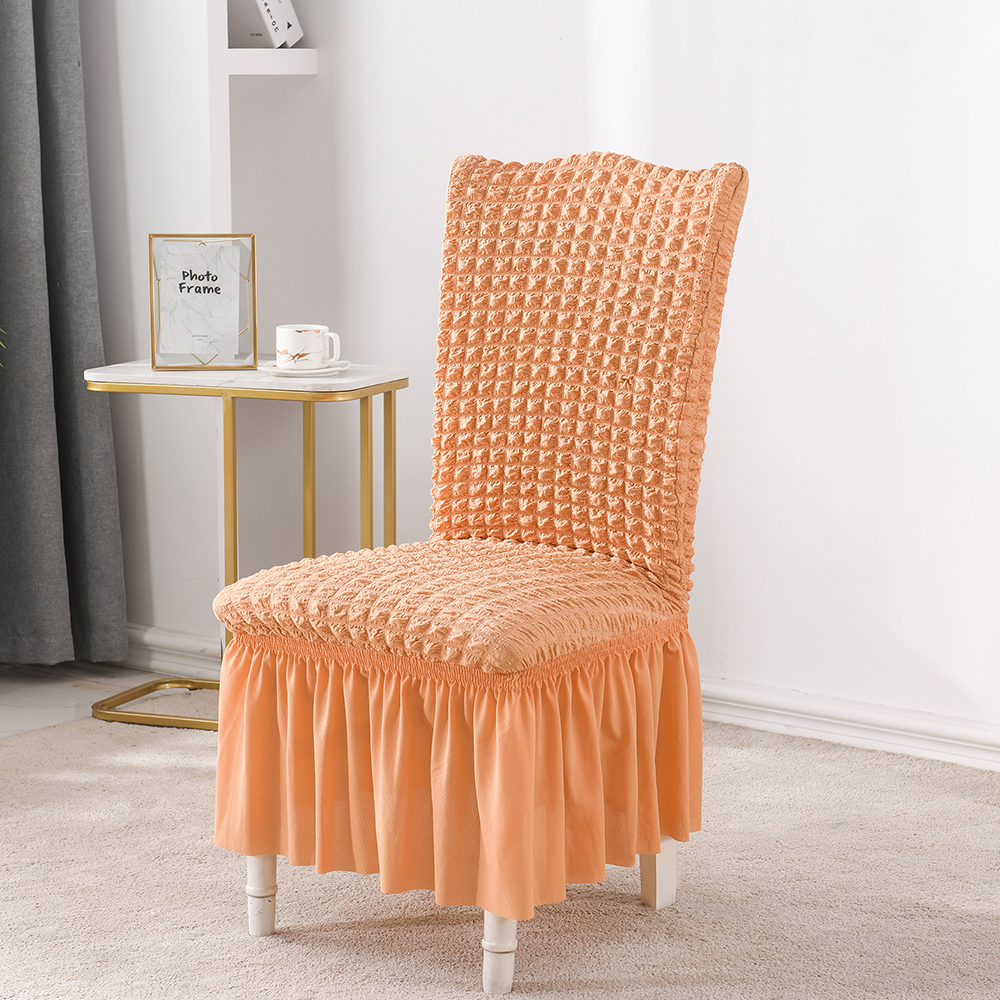 Saia de jantar seersucker elastano assento cadeira capa, para o banquete do hotel do casamento em casa, 14 cores, apropriado para a parte traseira alta