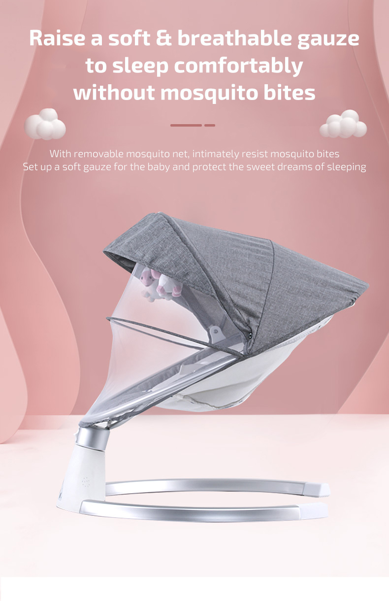H90ed715fd1b946cbab7d93ab5d1bc3d0F Infant Shining Smart Baby Rocker Electric Baby Cradle Crib Rocking Chair Baby Bouncer Newborn Calm Chair Belt Remote Control