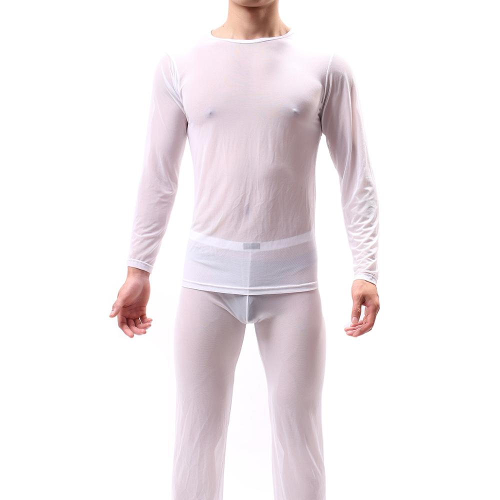 KWAN.Z Men's Sleepwear Sleep Top Ice Silk Nylon Men Silky Sleep Shirt Camison Hombre Home Mesh Clothes For Men Nightshirt Men