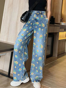 Sharezz Leg-Jeans Pants Print Loose Blue High-Waist Wide Baggy Large-Size Straight Casual