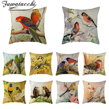 Fuwatacchi Pure Linen Cushion Cover Cute Bird Pillow Cover Flora and Fauna for Home Chair Sofa Decorative Pillowcases 45x45 Cm fuwatacchi floral cushion cover feather leaves gold pillow cover for decor sofa chair square decorative pillowcases